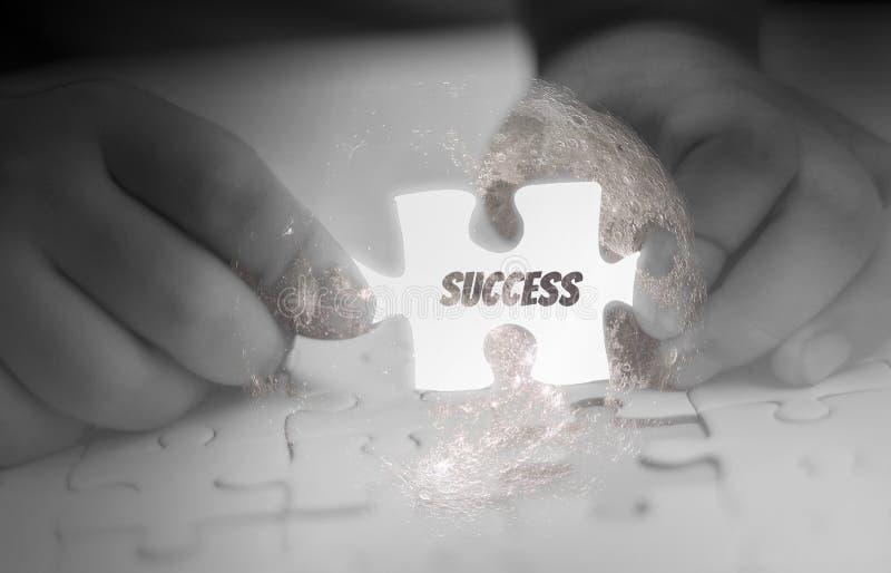 Hand som två rymmer, pusselstycke som glöder vit abstrakt begreppsaffär med framgång och mål och företags strategi, royaltyfri illustrationer
