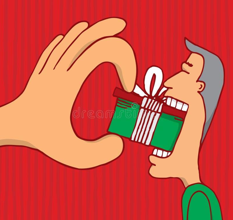Hand Som Tvingar En Gåva Till Konsumenten Arkivfoton