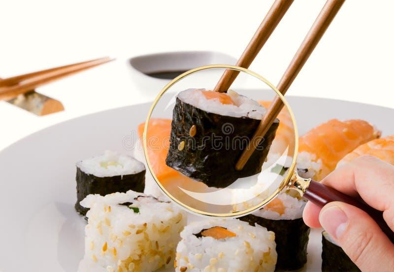 Hand som undersöker mycket noggrant sushi som tjänas som i platta till och med förstoringsglaset royaltyfria foton