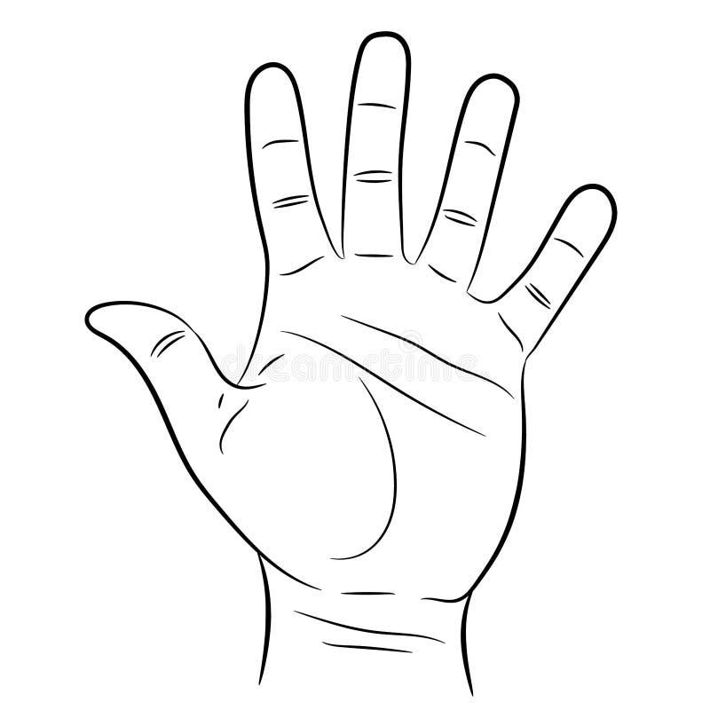 Hand som visar fem fingrar på vit av illustrationer vektor illustrationer