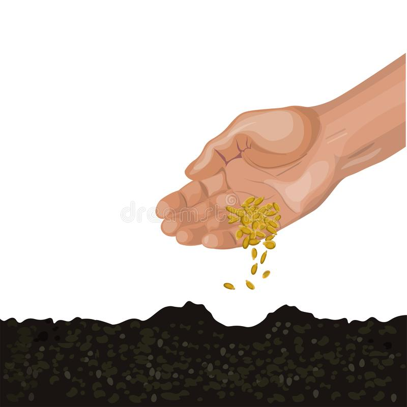 Hand sowing seeds stock illustration