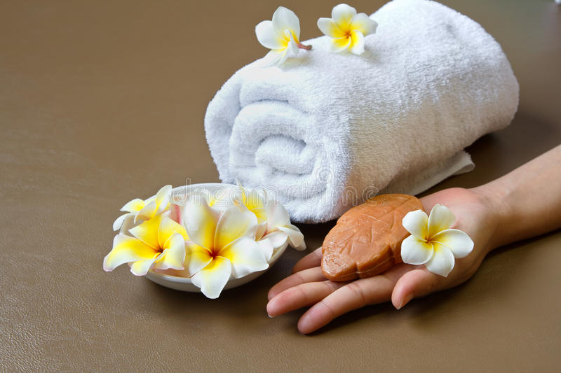 Download Hand with spa setting stock photo. Image of floral, beige - 24514546