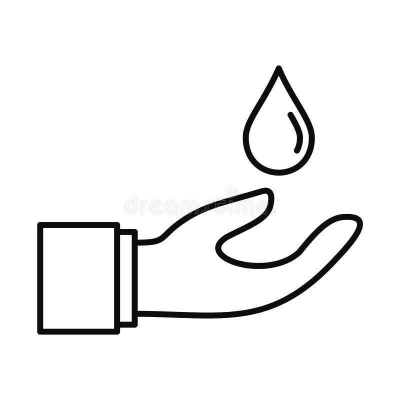 Hand sparen waterpictogram, overzichtsstijl royalty-vrije illustratie