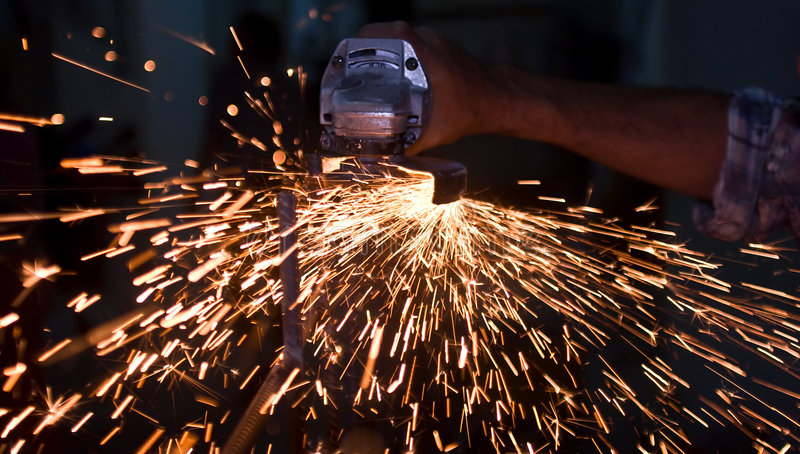 Hand and sparks stock image