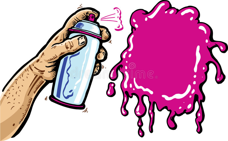 Hand with spray can cartoon vector illustration royalty free stock photo