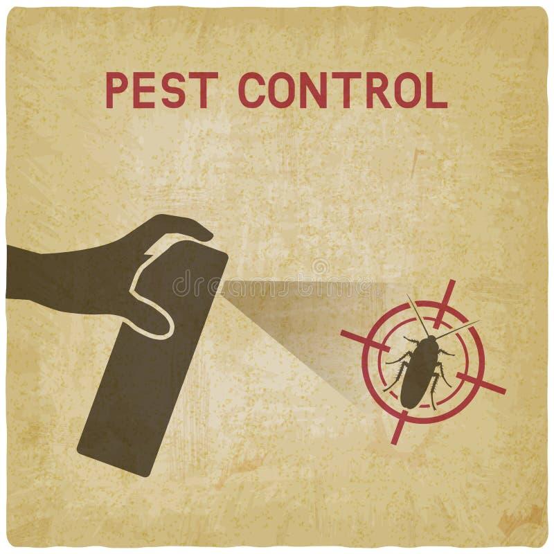 hand spray utrotning av kackerlackatappningbakgrund stock illustrationer