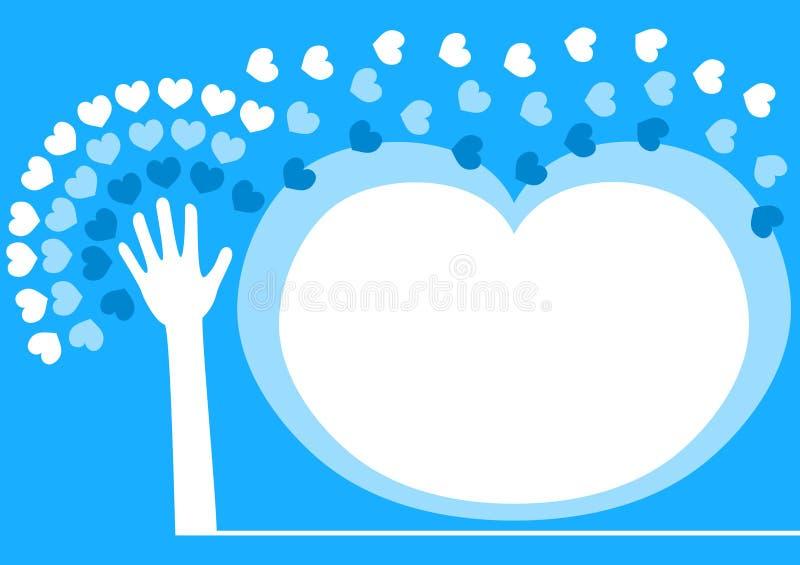 Hand spreading love invitation frame stock photos