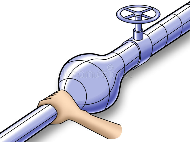 Hand Squeezes A Gas Pipe Stock Photography