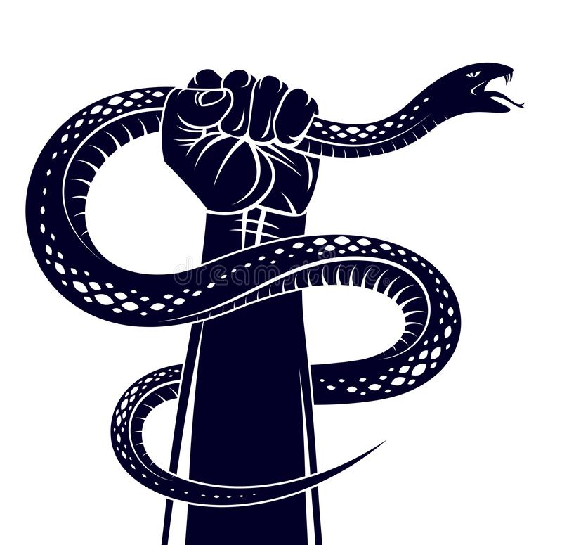 Hand squeezes a snake, fight against evil devil and Satan, control your inner beast animal, archetype shadow, life is a fight. Concept, vintage vector logo or vector illustration