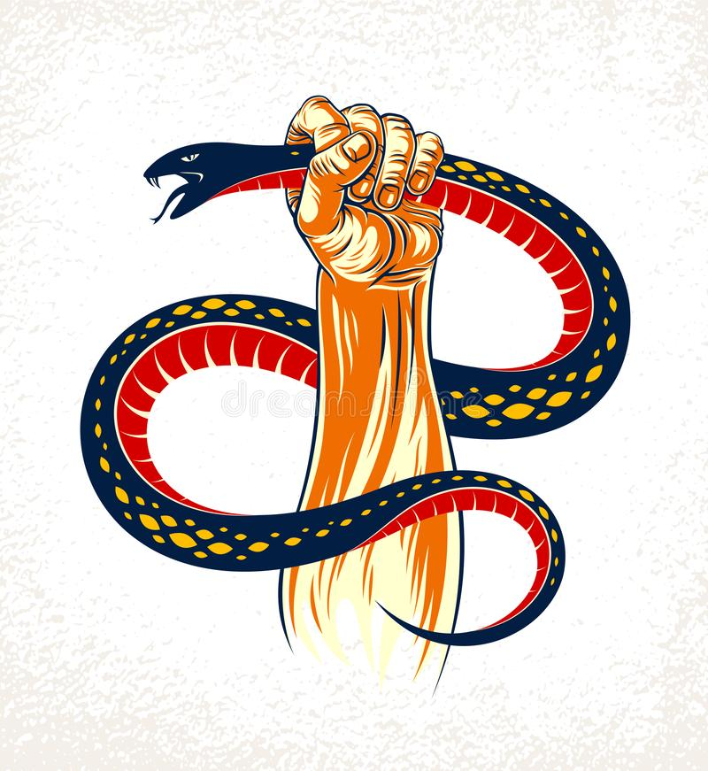 Hand squeezes a snake, fight against evil devil and Satan, control your inner beast animal, archetype shadow, life is a fight. Concept, vintage vector logo or royalty free illustration