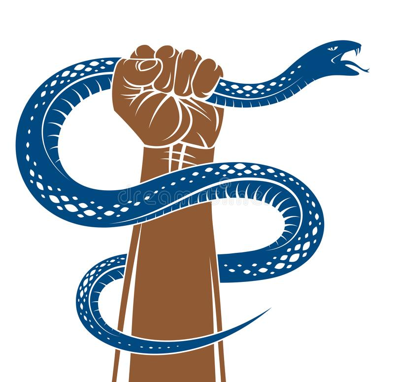 Hand squeezes a snake, fight against evil devil and Satan, control your inner beast animal, archetype shadow, life is a fight. Concept, vintage vector logo or stock illustration