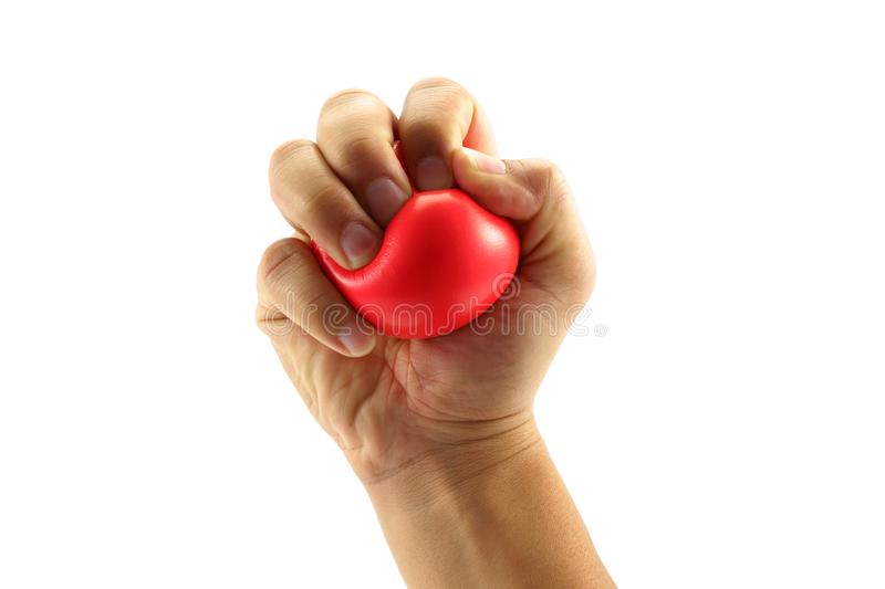 Hand squeezing a stress ball royalty free stock photos
