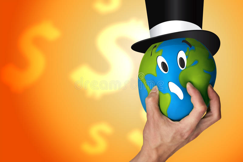 Hand squeezing the world royalty free illustration