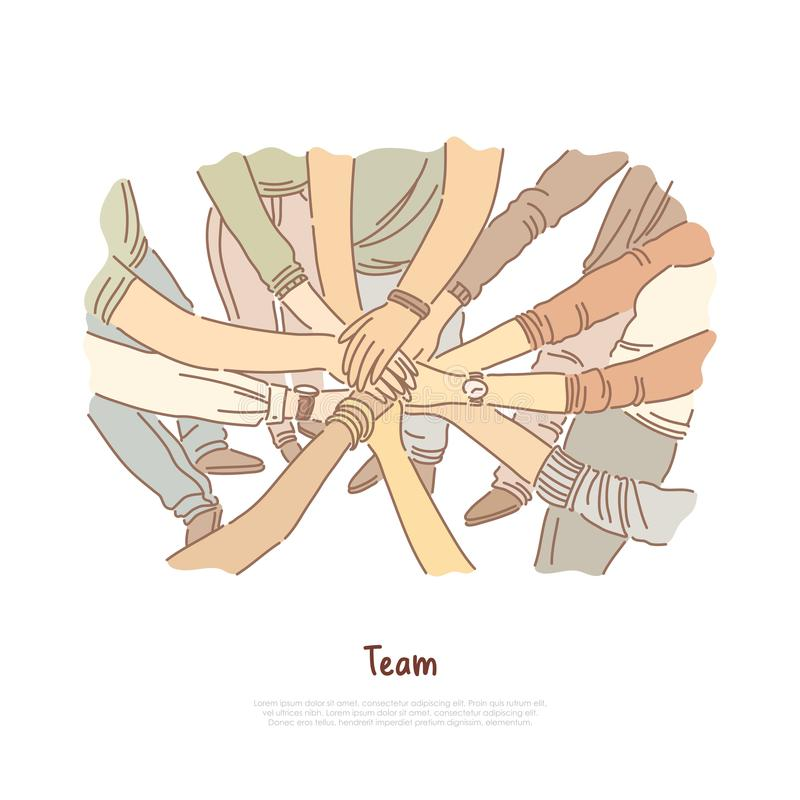 Hand stack, team bonding exercise, community cooperation, group unity, diversity, teamwork banner vector illustration