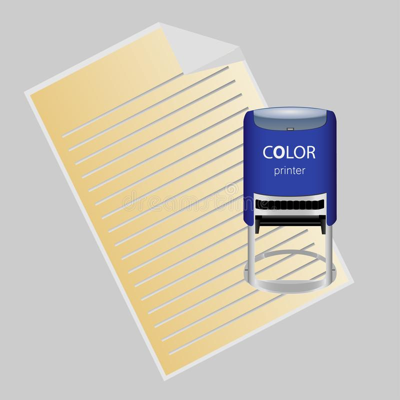 Hand stamping. Notary approving a documents. Vector illustration in flat style vector illustration