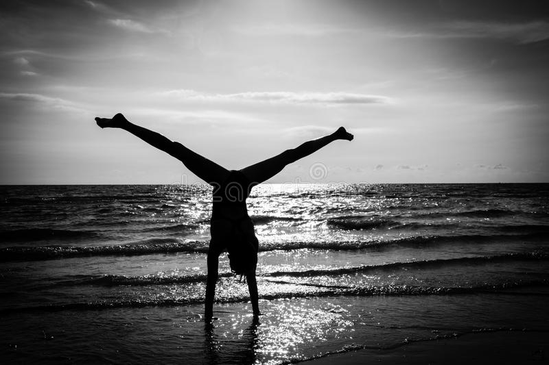 Download Hand Stand stock photo. Image of back, stand, wave, black - 35254486