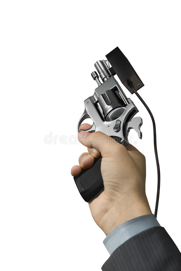 Hand with Starter Pistol stock photos