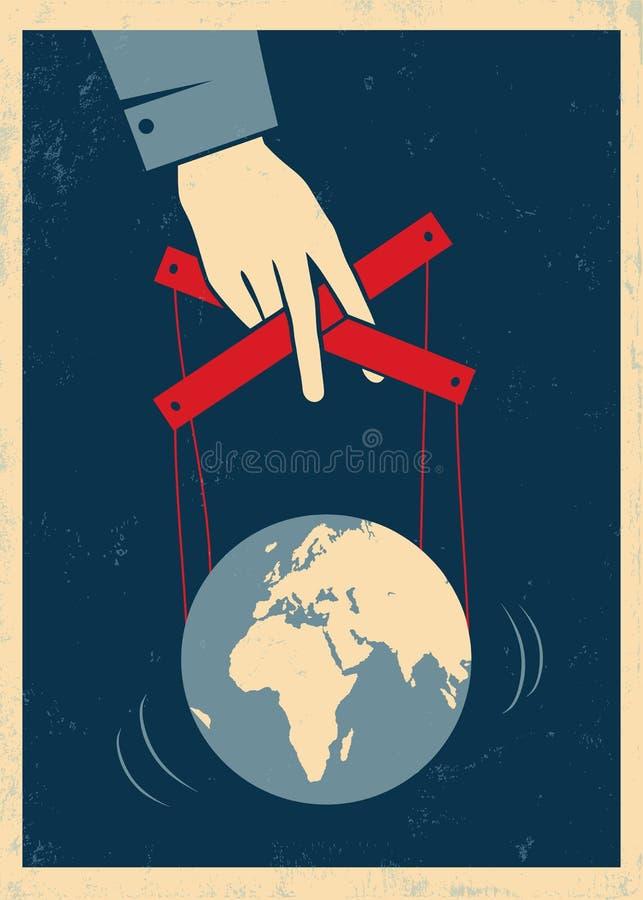 Hand steuert Erde lizenzfreie abbildung