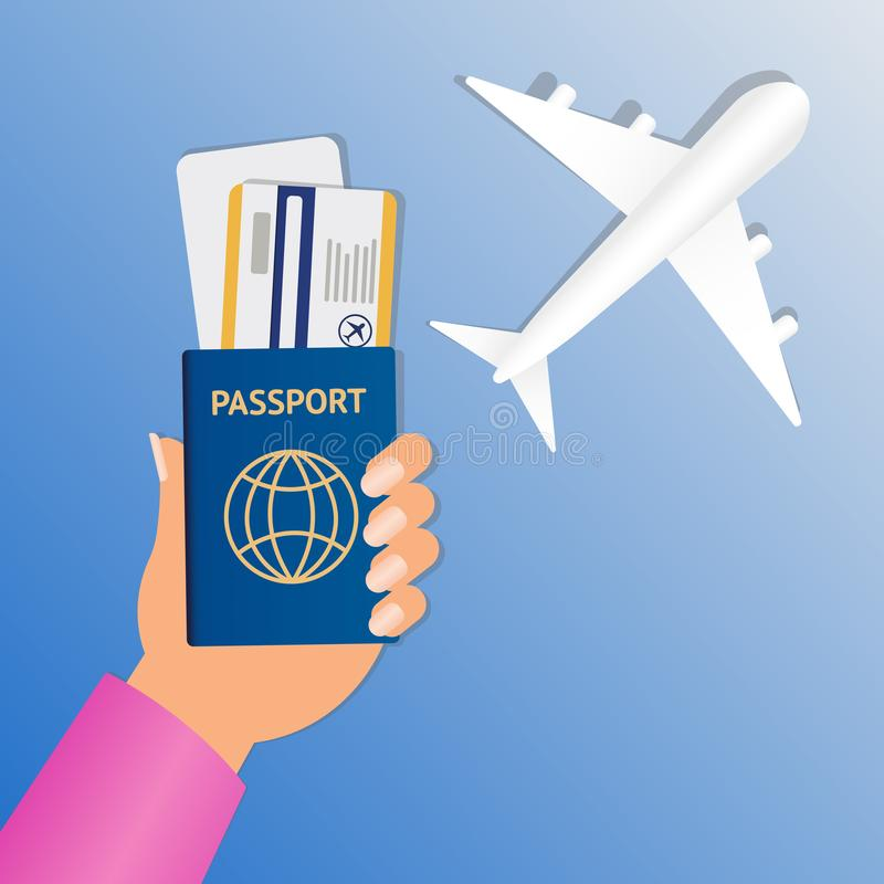 Hand of stewardess with passport and air ticket on round blue background. Business Hand Holding Passport And Tickets. Vector illustration. Air travel banner stock illustration