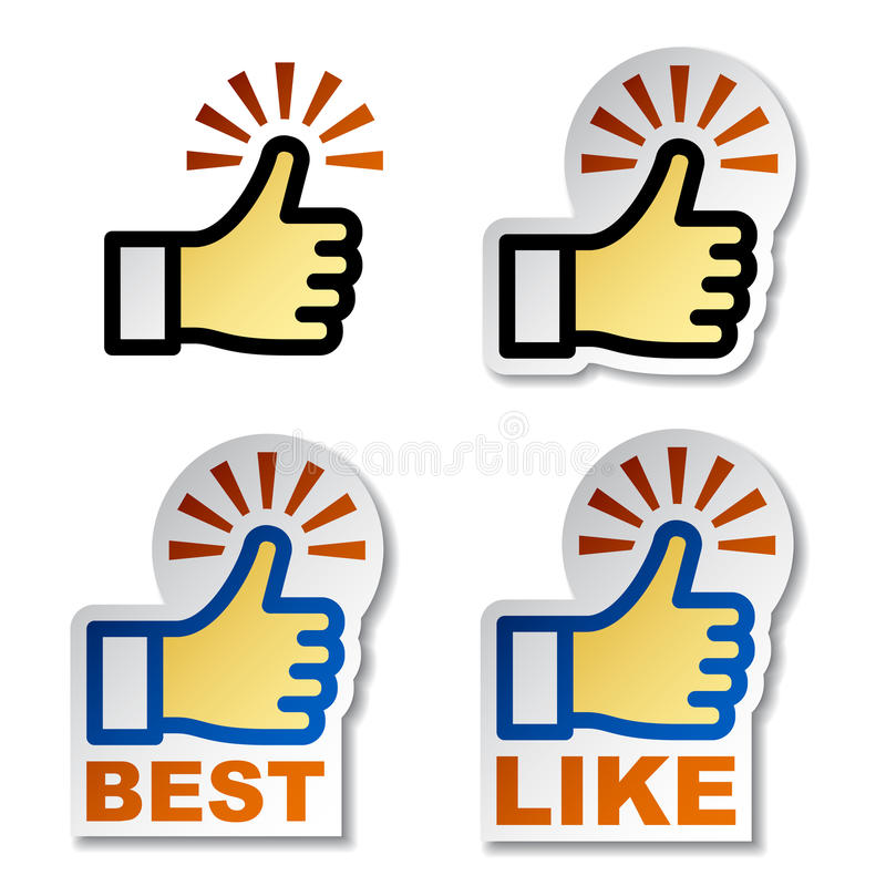 hand stickers thumb up иллюстрация вектора