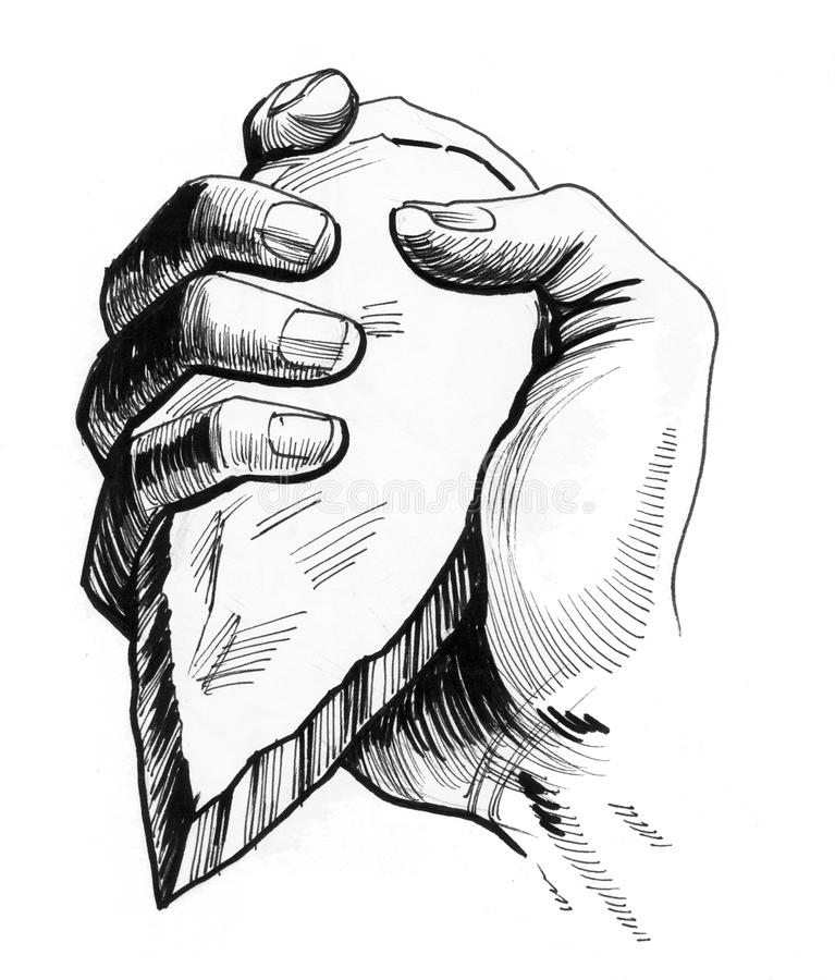 Hand with a stone axe. Ink drawing of a hand with a stone axe stock illustration