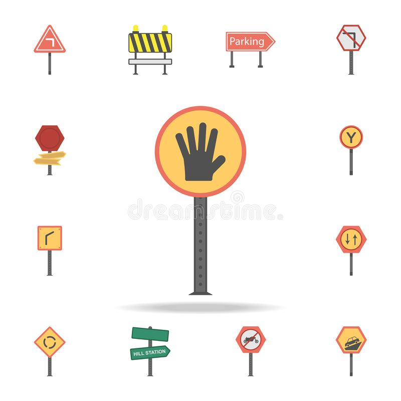 Hand stop colored icon. Detailed set of color road sign icons. Premium graphic design. One of the collection icons for websites, royalty free illustration