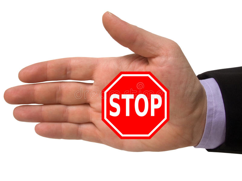 Download Hand with stop sign stock photo. Image of halt, white - 13154506