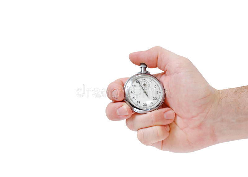 Hand with stop watch stock image