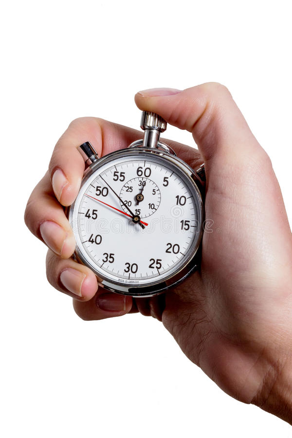 Hand with stop watch stock photography