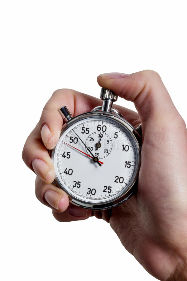 Hand with stop watch royalty free stock images