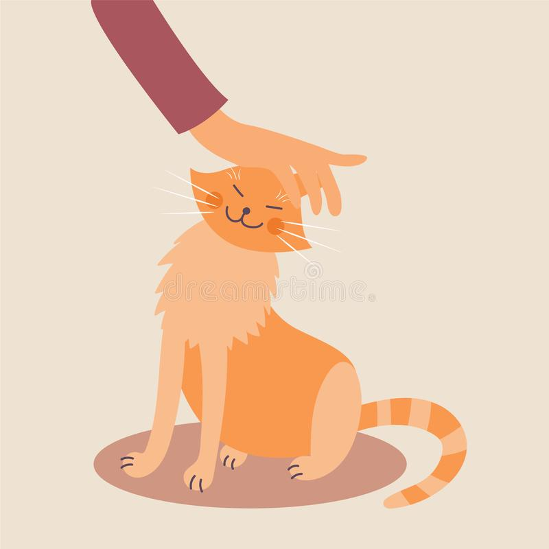 Hand stroking a cat. Good handling of animals. The manifestation of kindness. Vector editable illustration vector illustration