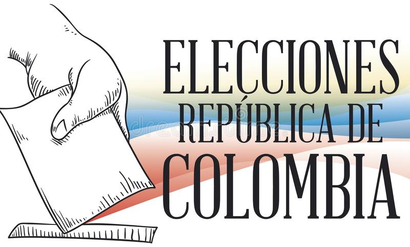 Hand with Suffrage in Hand Drawn Style for Colombian Elections, Vector Illustration. Banner with hand depositing its electoral card in hand drawn style and stock illustration