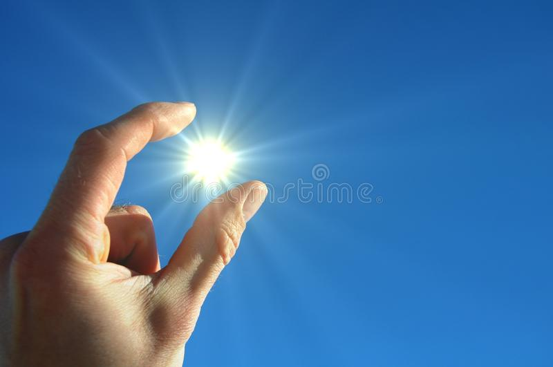 Download Hand sun and blue sky stock image. Image of male, pray - 14490079