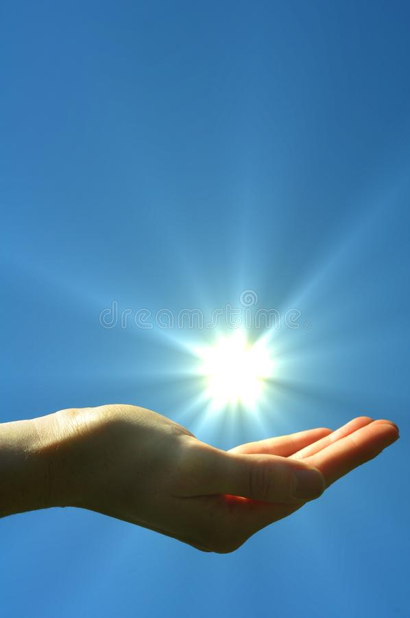 Download Hand sun and blue sky stock photo. Image of power, hand - 14710072