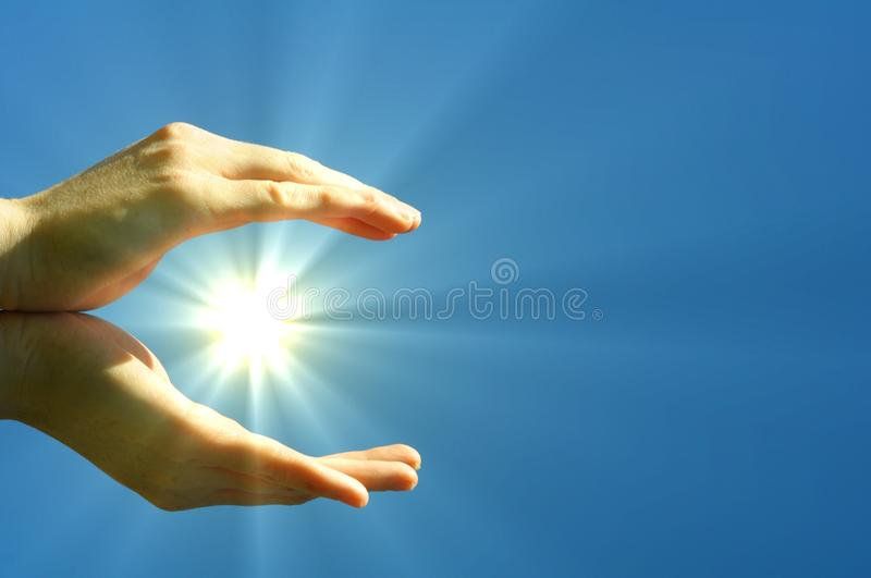 Download Hand sun and blue sky stock photo. Image of energy, pray - 15455706