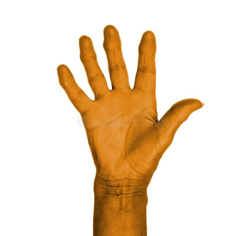 Hand Symbol Saying Five Saying Hello Or Saying Stop Stock Image