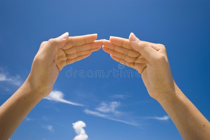 Hand symbolizing house royalty free stock images