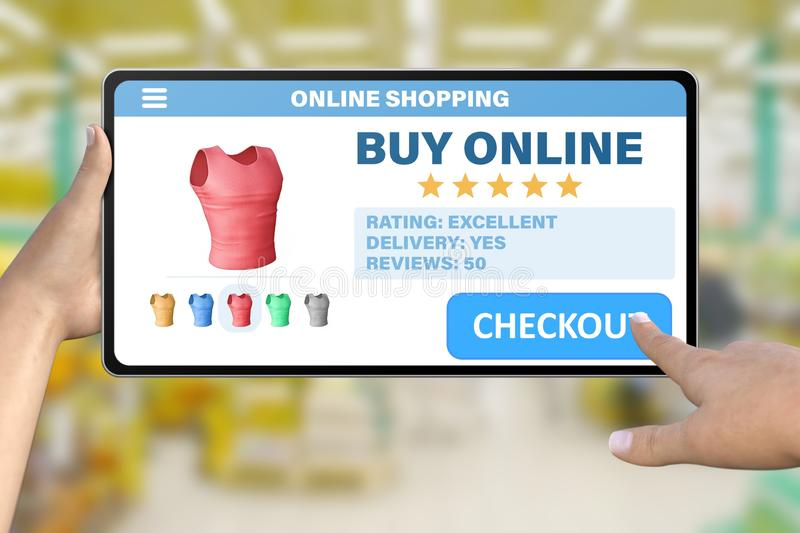 Hand with tablet computer tapping the button checkout on bokeh mall background - online shopping technology concept. Online shopping technology concept - hand vector illustration