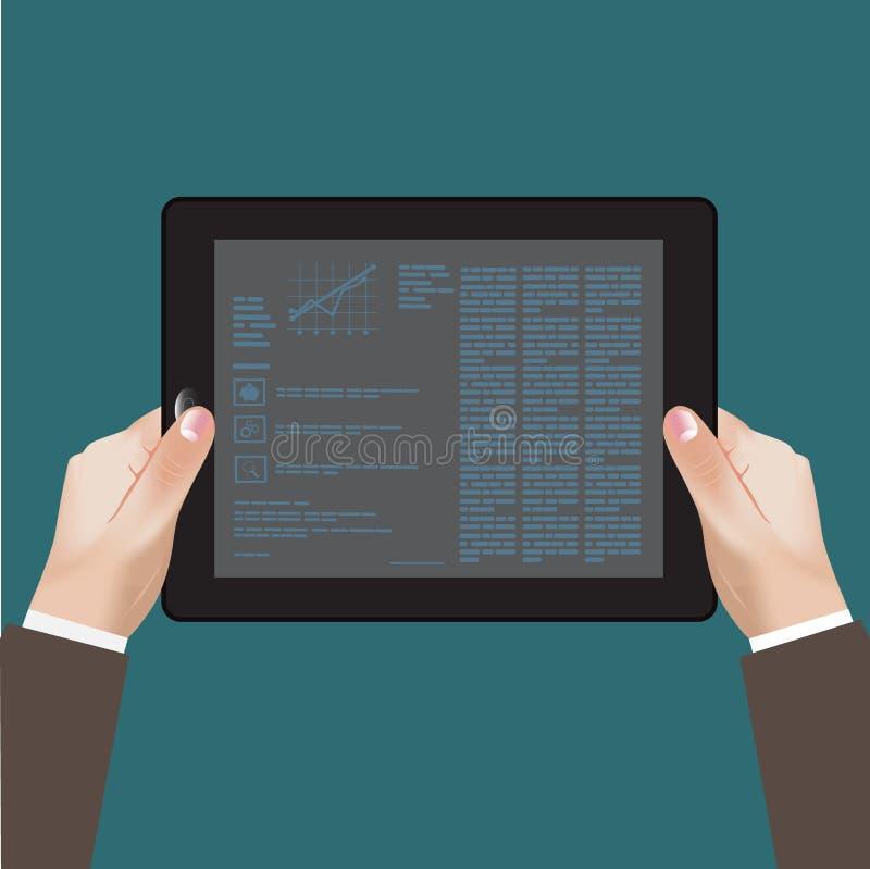 Hand, tablet, zaken, infographics stock illustratie