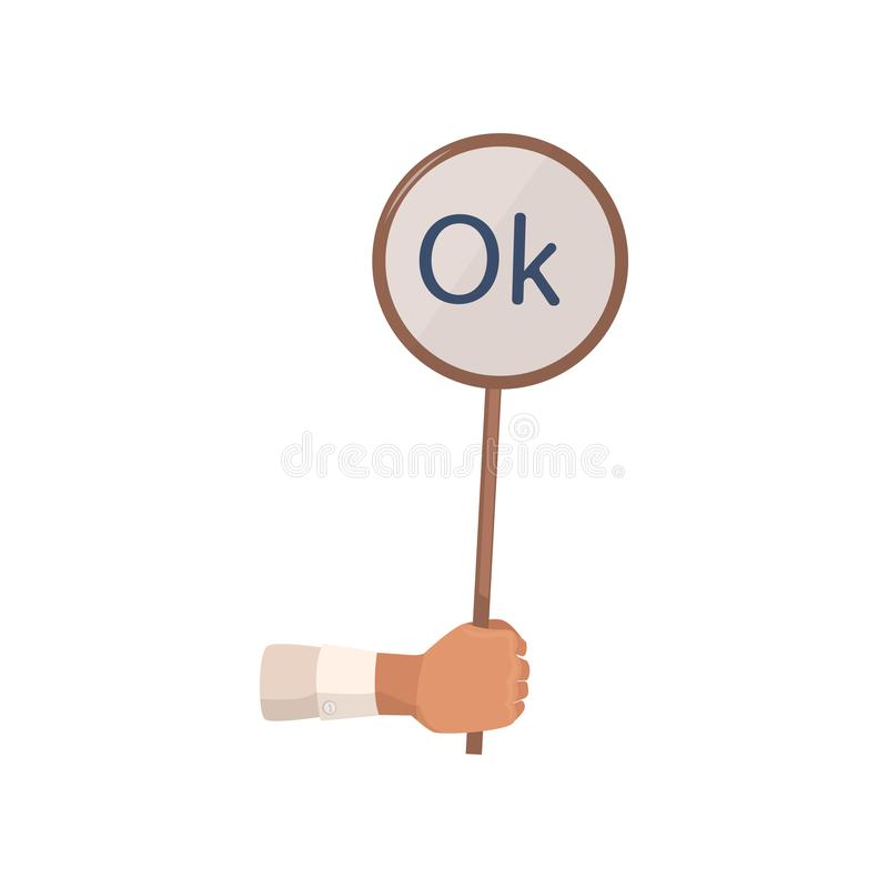 Hand take sign board with ok word, balloting royalty free illustration
