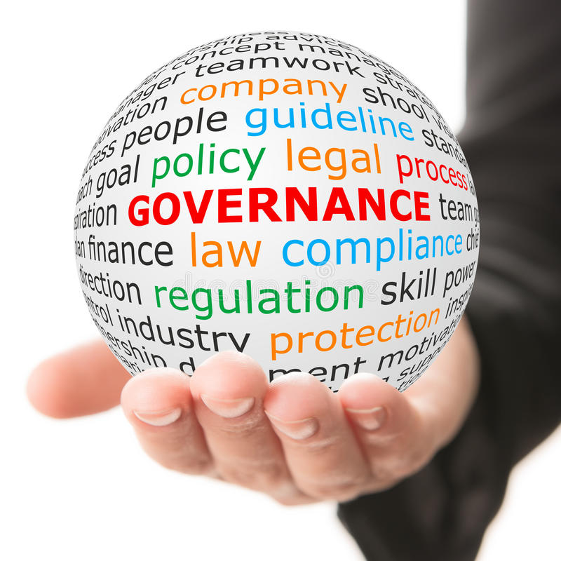 Hand take white ball with red inscription governance stock image