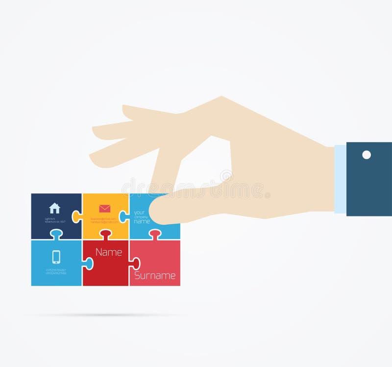 Hand taking business card vector illustration