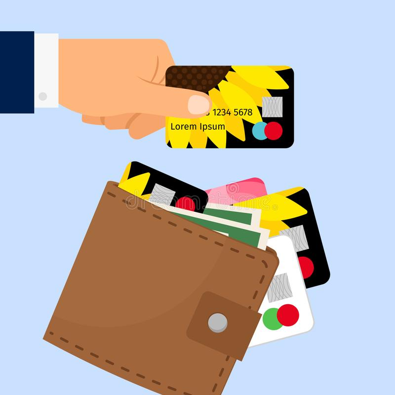 Hand taking credit card from wallet royalty free illustration