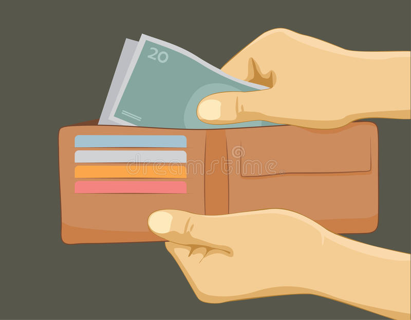 Hand taking money from wallet. Hand with money in wallet - paying with cash concept royalty free illustration