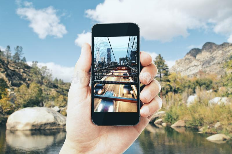 Cellphone city photo royalty free stock photography