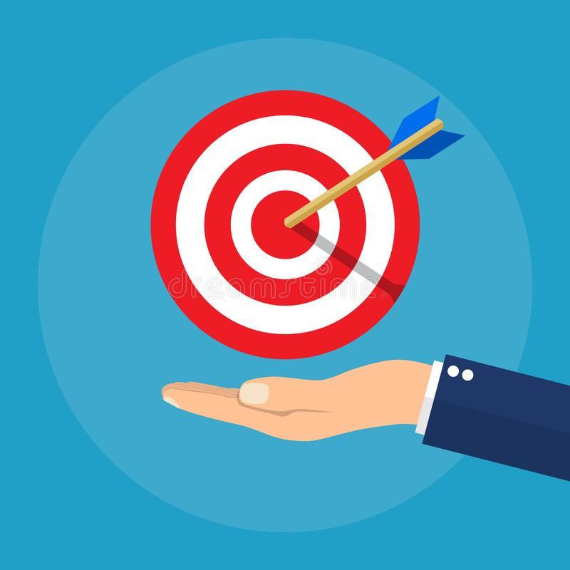 Hand with target and arrow. Business concept vector illustration