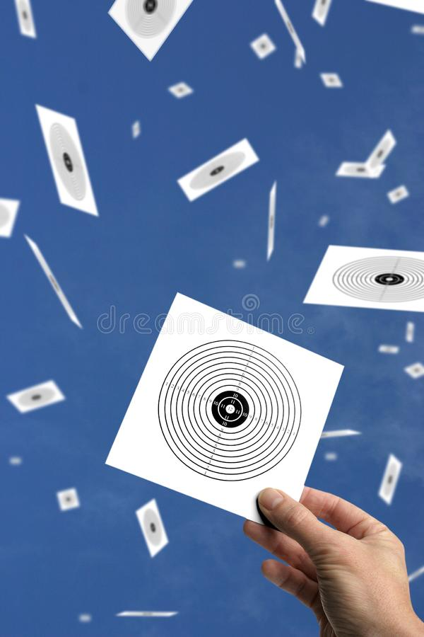 Hand with target or goal against blue sky royalty free stock photos