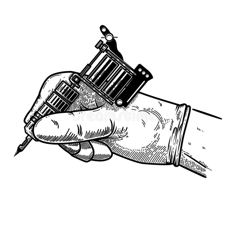 Hand with tattoo machine. Design element for poster, card, t shirt, emblem, sign. royalty free illustration