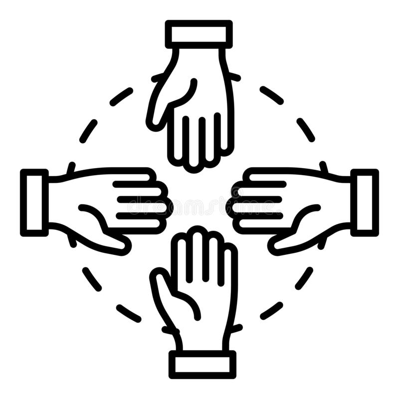 Hand teamwork icon, outline style. Hand teamwork icon. Outline hand teamwork vector icon for web design isolated on white background stock illustration