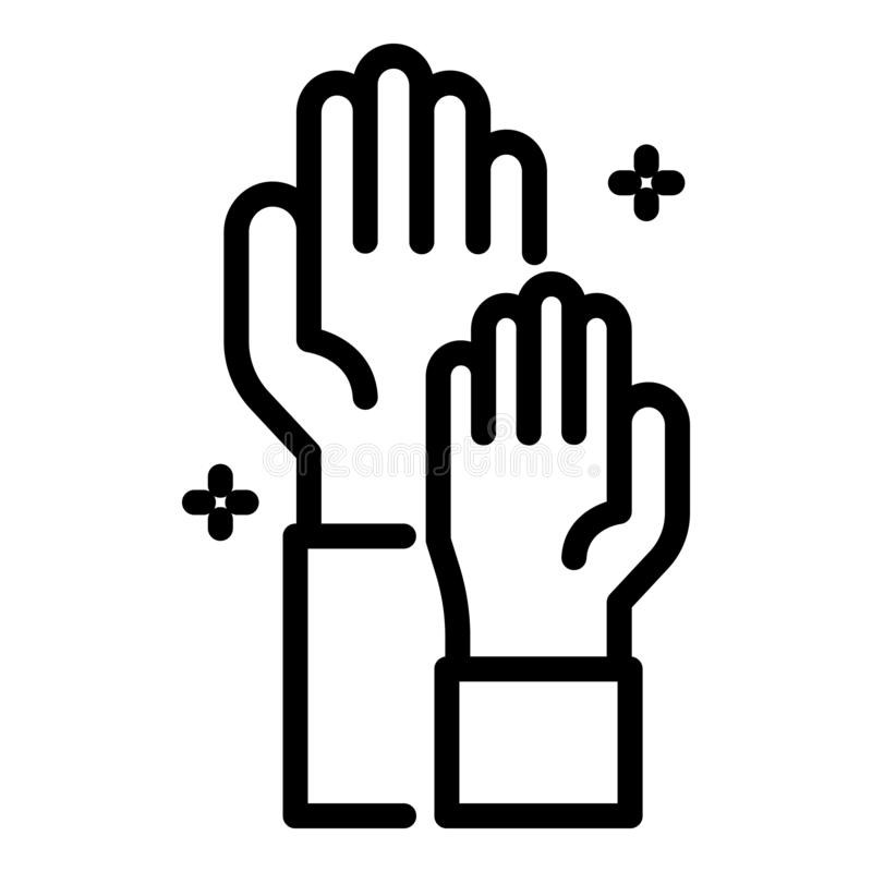 Hand teamwork icon, outline style. Hand teamwork icon. Outline hand teamwork vector icon for web design isolated on white background royalty free illustration